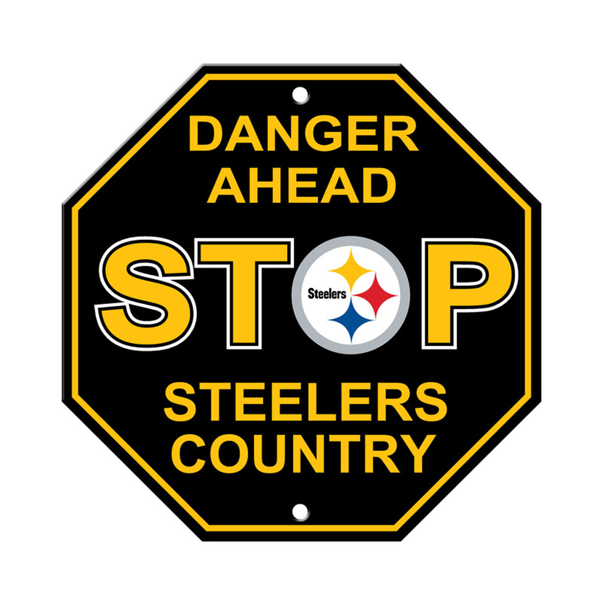 """New NFL Pittsburgh Steelers Country Danger Ahead Stop Sign 12"""" x 12"""
