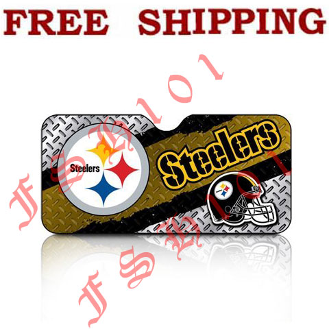New NFL Pittsburgh Steelers Windshield Folding Auto Sun Shade Standard Size