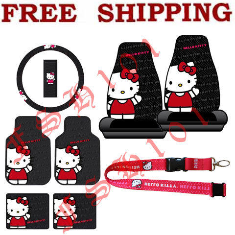 Kitty Waving Steering Wheel Cover Seat Covers Floor Mats More