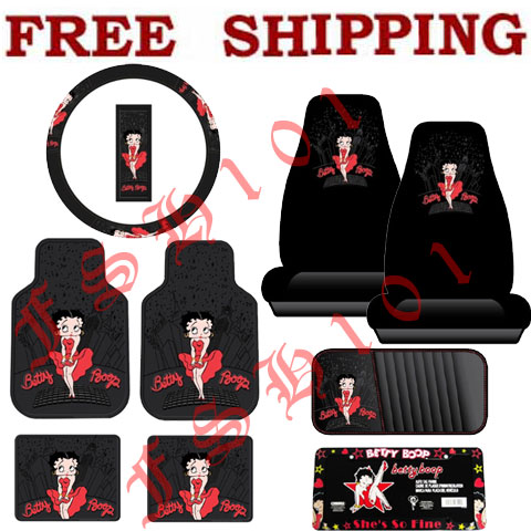 Auto Racing Seat Covers On Betty Boop Red Skyline Steering Wheel Cover Floor Mats