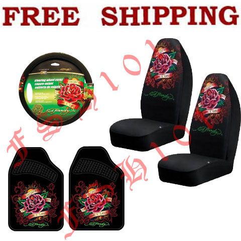 Auto Racing Seat Covers on Set Ed Hardy Pink Flower Seat Covers Steering Wheel Cover   Floor Mats
