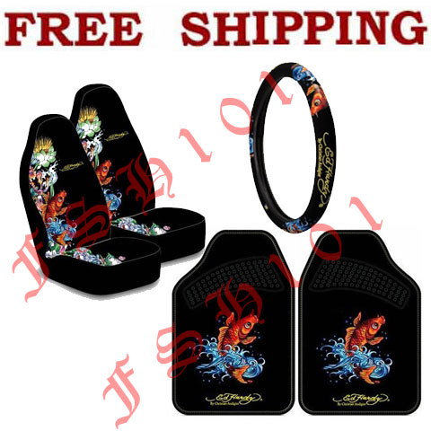 New Set Ed Hardy Koi Fish Seat Covers Steering Wheel Cover