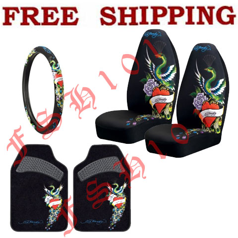 New Set Ed Hardy Red Hearts Peacock Seat Covers Steering