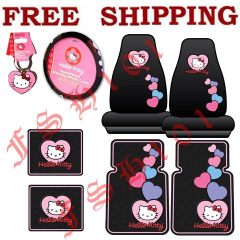 8PC Set Pink Hearts Hello Kitty Seat Covers Steering Wheel Cover Floor