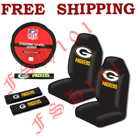 new nfl green bay packers seat covers steering wheel cover belt covers set. Black Bedroom Furniture Sets. Home Design Ideas