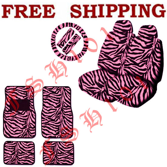 New Pink Zebra Print Seat Covers Floor Mats Set Fit TOYOTA