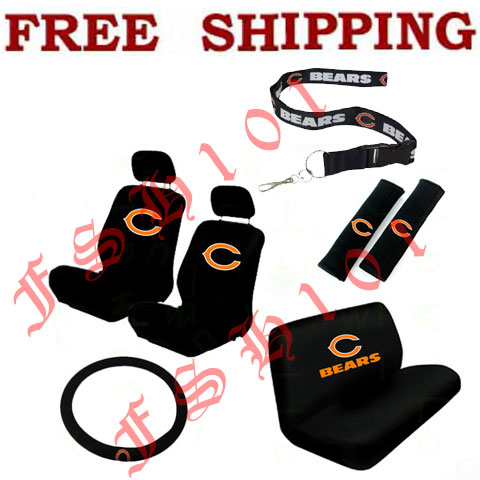 Auto Racing Seat Covers on Chicago Bears Car Seat Covers Steering Wheel Cover Lanyard Set   Ebay
