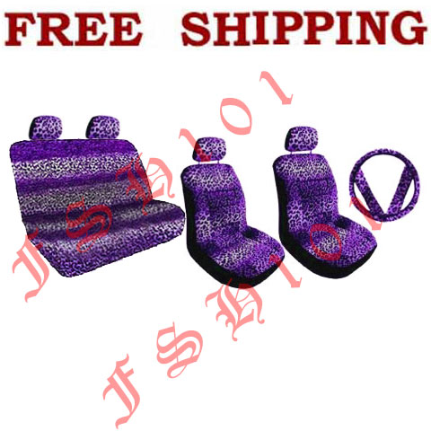 Auto Racing Seat Covers on Purple Leopard Print Set Auto Car Seat Covers   Steering Wheel Cover