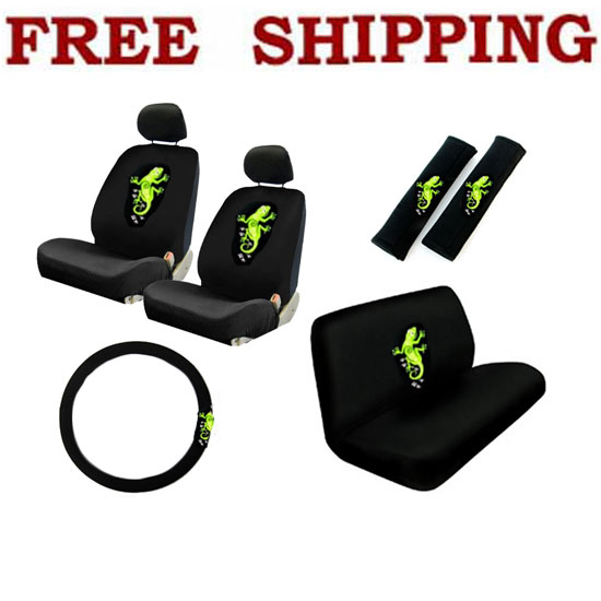 NEW 11PCS GREEN GECKO CAR SEAT COVERS STEERING WHEEL COVER