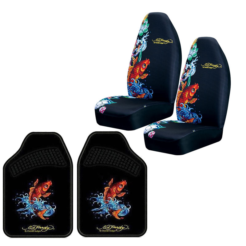 Brand New 4pcs Set Ed Hardy Koi Fish Front Seat Covers