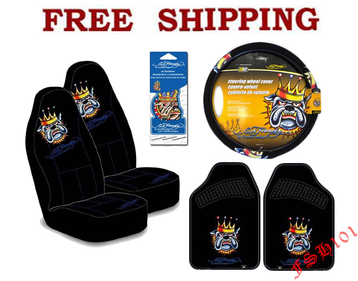 Ed Hardy Bulldog King Car Truck Seat Covers Steering Wheel
