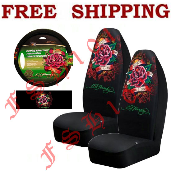 New 3PC Set Ed Hardy Pink Flower Car Truck Seat Covers