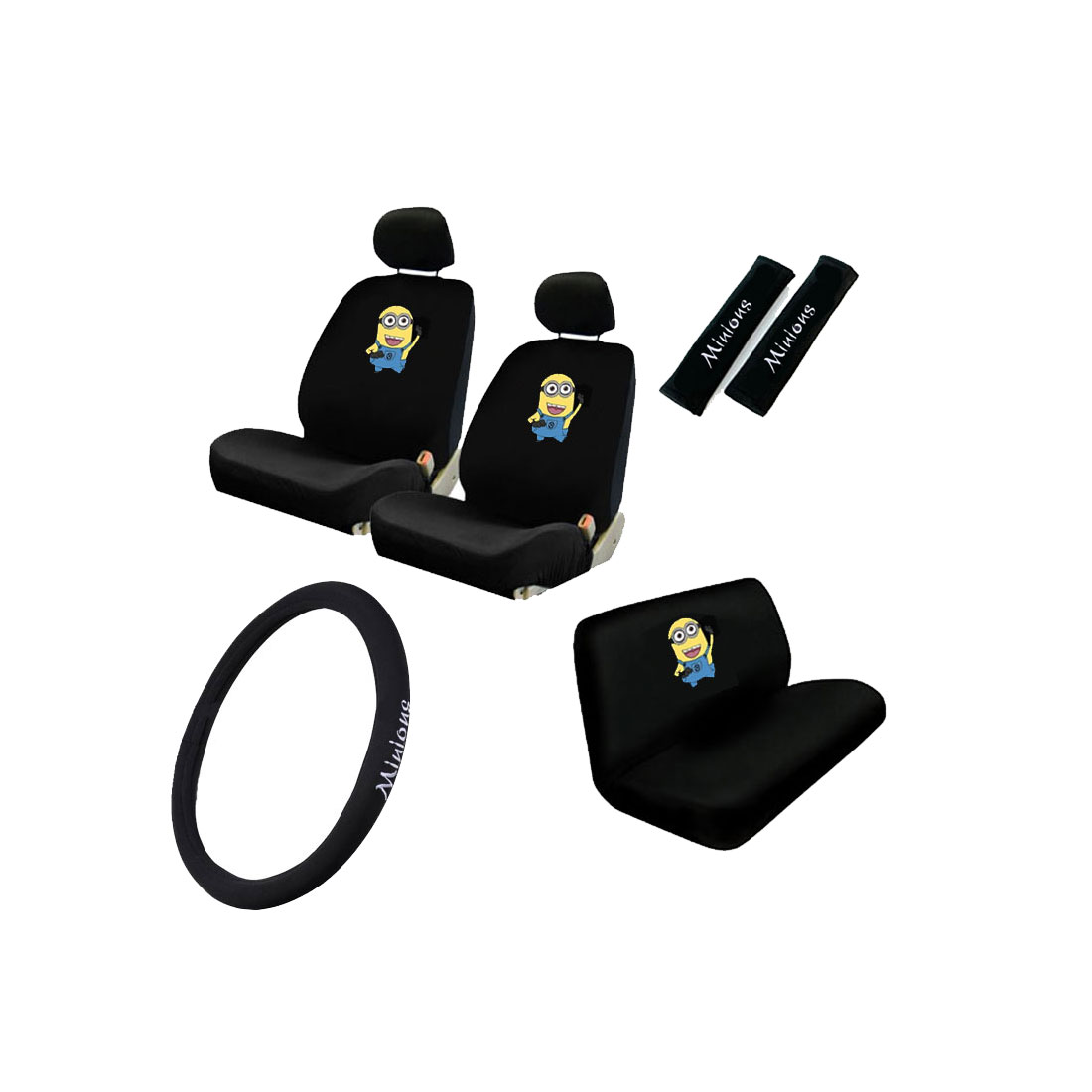 New Set Despicable Me Minion Car Seat Covers Steering
