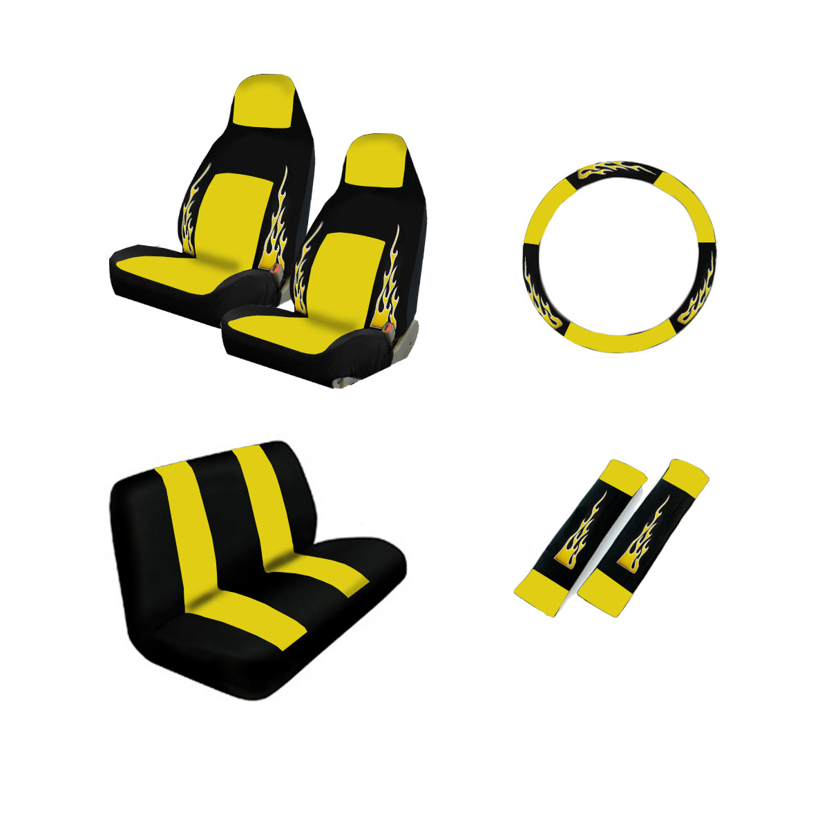 Brand New Yellow Flame Car Truck Seat Covers Steering