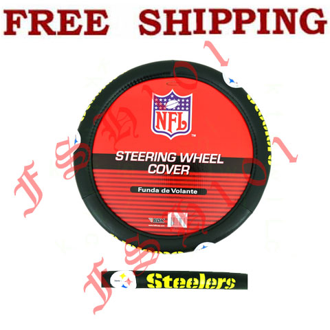 Auto Racing Accessories on Brand New Simulated Leather Nfl Pittsburgh Steelers Steering Wheel