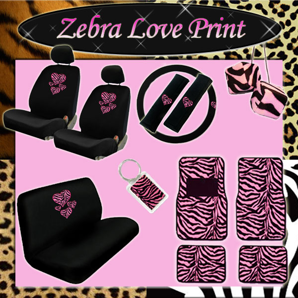 Heart Pink Zebra New Seat Covers Rear Bench Dice Keychain Universal